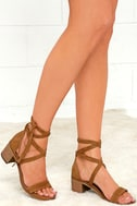 Steve Madden Rizzaa Cognac Suede Leather Heeled Sandals 1