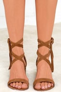 Steve Madden Rizzaa Cognac Suede Leather Heeled Sandals 2