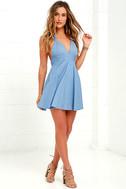 I'm Smitten Blue Chambray Halter Dress 3