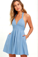 I'm Smitten Blue Chambray Halter Dress 4