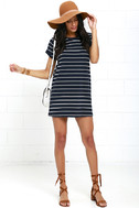 Cafe Society Navy Blue Striped Shirt Dress 2