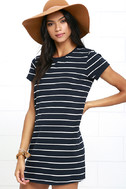 Cafe Society Navy Blue Striped Shirt Dress 3