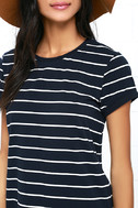 Cafe Society Navy Blue Striped Shirt Dress 5
