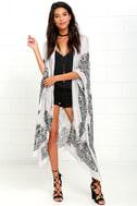 Exotic Sol Black and Grey Print Kimono Top 1
