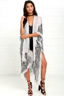 Exotic Sol Black and Grey Print Kimono Top 2