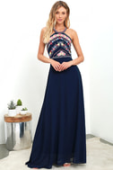 All My Life Navy Blue Embroidered Maxi Dress 1
