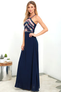 All My Life Navy Blue Embroidered Maxi Dress 2