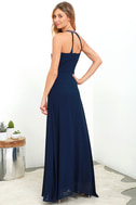 All My Life Navy Blue Embroidered Maxi Dress 3