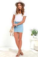 Pop and Lock Light Wash Denim Mini Skirt 2
