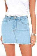 Pop and Lock Light Wash Denim Mini Skirt 5
