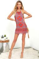 Social Philosophy Coral Red Print Halter Dress 2