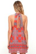 Social Philosophy Coral Red Print Halter Dress 4