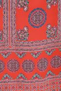 Social Philosophy Coral Red Print Halter Dress 6