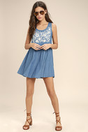 Mary Jane Embroidered Blue Chambray Dress 2