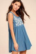 Mary Jane Embroidered Blue Chambray Dress 3