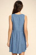 Mary Jane Embroidered Blue Chambray Dress 4