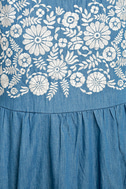 Mary Jane Embroidered Blue Chambray Dress 6