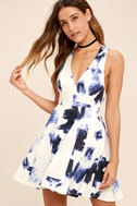 Seeing Chic Blue and Ivory Print Skater Dress 1