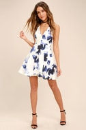 Seeing Chic Blue and Ivory Print Skater Dress 2