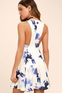 Seeing Chic Blue and Ivory Print Skater Dress 3