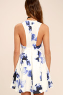 Seeing Chic Blue and Ivory Print Skater Dress 4