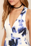 Seeing Chic Blue and Ivory Print Skater Dress 5