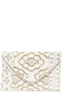 Etched in Stone Cream Beaded Clutch 2