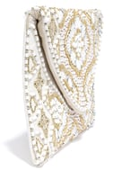 Etched in Stone Cream Beaded Clutch 4