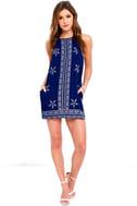 Mediterranean Sea Navy Blue Print Halter Dress 2