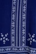 Mediterranean Sea Navy Blue Print Halter Dress 6