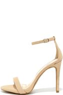 Loveliness Nude Nubuck Ankle Strap Heels 1
