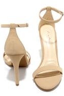 Loveliness Nude Nubuck Ankle Strap Heels 2