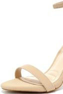 Loveliness Nude Nubuck Ankle Strap Heels 5
