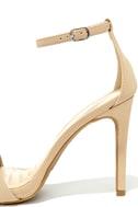 Loveliness Nude Nubuck Ankle Strap Heels 6