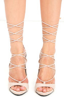 Party Anthem Nude Suede Lace-Up Heels 2