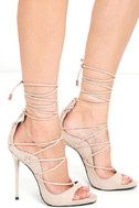 Party Anthem Nude Suede Lace-Up Heels 3