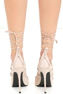 Party Anthem Nude Suede Lace-Up Heels 4