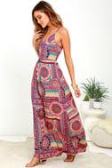 Sunrise to Sunset Coral Pink Print Maxi Dress 1