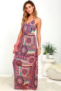 Sunrise to Sunset Coral Pink Print Maxi Dress 2