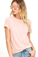 In the Raw Distressed Peach Tee 1
