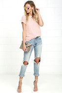 In the Raw Distressed Peach Tee 2