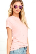 In the Raw Distressed Peach Tee 3