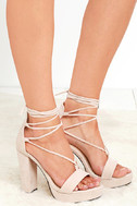 I Slay Nude Suede Lace-Up Platform Heels 3