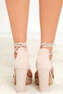 I Slay Nude Suede Lace-Up Platform Heels 4