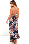 Adventure Seeker Navy Blue Floral Print Maxi Dress 3