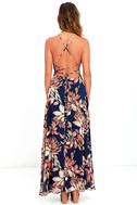 Adventure Seeker Navy Blue Floral Print Maxi Dress 4