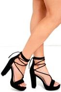 I Slay Black Suede Lace-Up Platform Heels 1