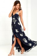 All Mine Navy Blue Floral Print High-Low Wrap Dress 1