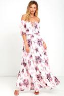 Infinite Love Ivory Floral Print Off-the-Shoulder Maxi Dress 1