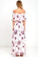 Infinite Love Ivory Floral Print Off-the-Shoulder Maxi Dress 4